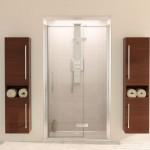 Aqualux 1200mm AQUA 8 Hinge Pivot Shower Door with Single Fixed Panel