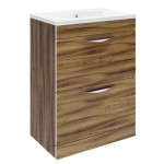 Hudson Reed 600mm Gloss Walnut Floor-standing Unit & Choice of Basin