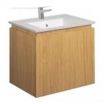 Bauhaus 600mm Vanity Unit Single Drawer Spanish Oak with 1TH Basin