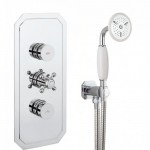 Crosswater Dial Push Button Valve 2 Control Central Trim, Fixed Shower Head & Handshower with Wall Outlet